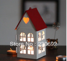wedding decoration Retro hollow lantern candle holder wedding candelabra cup cozy little house gift