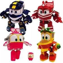 Hot 4pcs/lot robot trains toys Train Family deformation transformation robot car toys for children gifts(China)