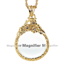 New Arrive Three Rose Pattern Women Lead Free Crystals Long Chain Necklaces 2X Magnifying Glass Pendant Daily Reading Purpose