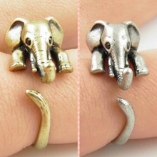 2016 New Hot Vintage lovely Anti Silver Gold Color Adjustable Elephant Wrap Rings for Women Party Gifts Free Shipping