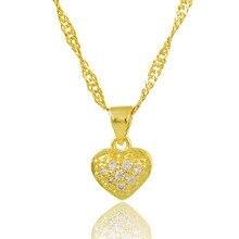 2017 Romantic Elegant Design Heart Pendant 24k Gold Colou Link Chain  Necklace With Zircon Fancy Gift For Women Men Necklace 26f04fc399ae
