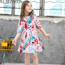 W.L.MONSOON Children's Princess Dresses Girls Flower Clothes 2017 Brand Toddler Girl Dress Kids Clothing Half Sleeve Baby Dress