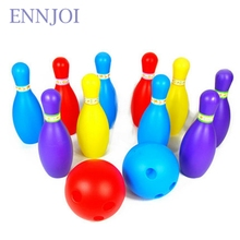 Children Plastic Bowling Toy Bowling Balls Game 8 PCS Bottles and 2PCS Bowling Balls Baby Intellectual Game for Kids Wooden Toy(China)