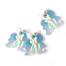 10Pcs Flat Back Resin Planar Kawaii My Little Horse Cabochon DIY Craft 33*31MM Toddler Kids Girls Decorative Accessories