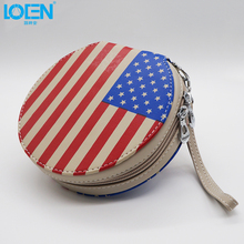 American Flag Car 20 CDs/DVDs Organizer Holder Disc Disk Storage Clips Package Round Bag For Universal Cars Auto Accessories(China)