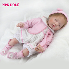 NPKDOLL55 cm Silicone Reborn Baby Dolls 22 Inch Baby New Dolls Alive Reborn Babies Gift Doll Fashion Dolls For Girls(China)