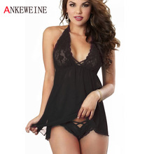 Women's Cross Lace Sex Products Exotic apparel Sexy Baby Doll Dress Nightwear Lingerie Costumes Sleepwear(China)