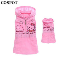 COSPOT Girls Hello Kitty Dress Baby Girl Sleeveless Sundress Girl's Hooded Hoodies Dresses Kids Summer Pink Dress 2017 New 28E(China)