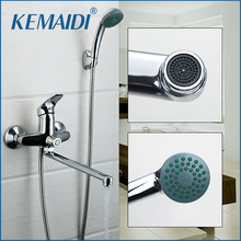 KEMAIDI RU New Concise Style Bathroom Shower Faucet Bath Faucet Mixer Tap With Hand Shower Head Shower Faucet Set Wall Mounted(China)