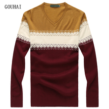 Cashmere Men Patchwork V-neck Slim Fit Silk Sweater Men Pullover 2017 New Autumn Winter Mens Knitted Sweaters Plus Size M-8XL(China)