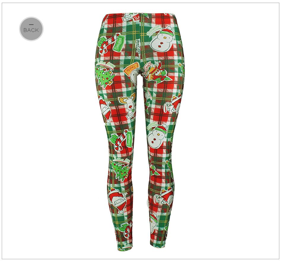 Xmas Snowman, Exquisite Design Plaid Leggings, Women's 3D Printing Winter Christmas Leggings 27