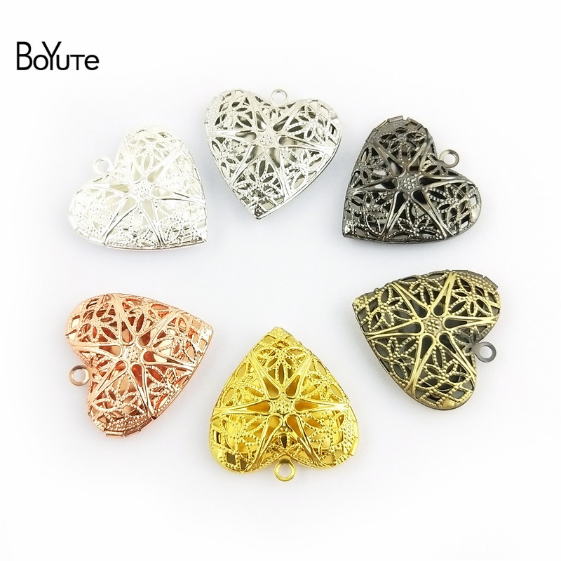 BoYuTe (10 PiecesLot) 6 Colors Plated Round Oval Heart Filigree Locket Pendant Can Open to insert Photo Locket Pendant (3)