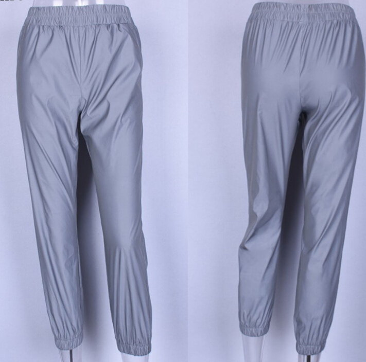 Ladies Casual Solid Night Reflective Stretch Trousers Women Autumn High Waist Loose Pants