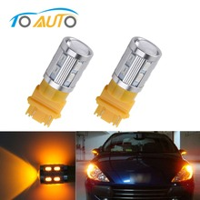 2PCS led Bulbs 3056 3156 3057 3157 p27/7w T20 Cree LED Chips -For car Rear Brake Lights Turn Signal Tail Lamps - Yellow/Amber