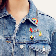 Pineapple Toucan rainbow Lips Juice Flamingos Sunglass Watermelon Hat Guitar Brooch Denim Jacket Pin Badge Fashion Jewelry(China)