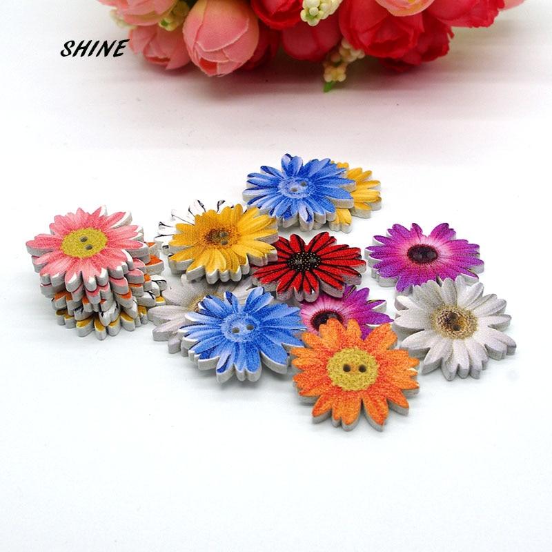 Round Wooden Snowflower Design Buttons 25mm