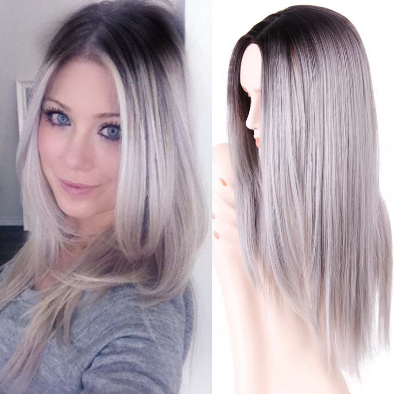 Ombre Wig Grey Synthetic Wigs False Hair for Black Women 26 Long Straight Natural Cheap Hair  Gray Wig Female Hair<br><br>Aliexpress