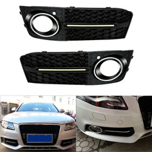 2 Pcs Universal Car Front Grilles Grill bumper grille mesh air intake With 5000K White Fog Lights DRL for Audi A4L/B8(2008-2012)