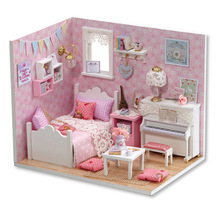 Cute room DIY doll house handmade model with LED Furniture Miniature Dust Cover 3D Wooden Miniaturas Dollhouse H015 #E(China)