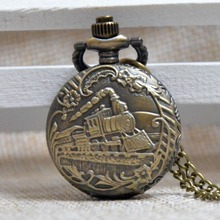 Antique Bronze Train Engrave Small Quartz Pocket Watch Analog Pendant Necklace Mens Womens Gifts(China)