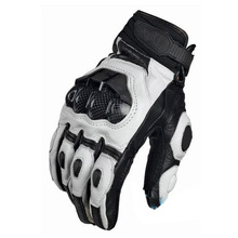 2016 TOP SALE  France's top car brand motorcycle gloves leather gloves with carbon fiber black white