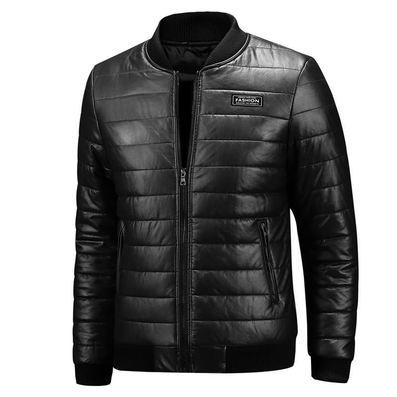 Autumn Winter Leather Jacket Men Stand Collar Casual Slim Fit Leather Coat Men Thick Warm Windbreaker PU Outerwear Plus Size 8XL