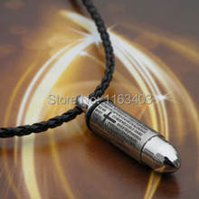 fashion Free shipping Bible Bullet pendants necklaces metal Titanium necklace for men 316 pendant Stainless steel chain 1pcs