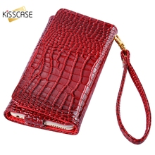 KISSCASE Luxury Leather Case For Apple iPhone 7 6 P 5 5S se 5C 4 Strap Wallet Case For Samsung galaxy S3 S5 J1 mini A3 4.7inch