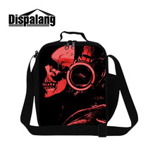 Dispalang Hot Sale Lunch Bags For Kids Punk Music Skull Prints Portable Picnic Food Bag Lunch Cooler Bag Thermal Lunch Container