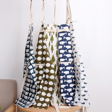 Cotton Kitchen Apron Printed Unisex Cooking Aprons Bar&Dining Room Barbecue Restaurant Pocket Kitchen Accessories