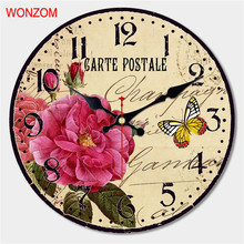 WONZOM Blooming Flower Design Large Rose Wall Clock Silent Living Room Wall Decor Saat Home Decor Watch Wall 2017 Reloj De Pared