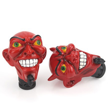 Car Tuning Horned Red Monster Auto Gear Stick Head Headband Angle Red Devils Automatic Gear Shift Knob Devil Head Knob Styling