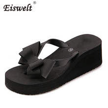 EISWELT 2017 Summer New Women's Fashion Shoes Solid Color Bowknot Hawaii Beach Slippers Flat Wedge Flip Flops#ZQS040