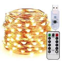 Dimmable LED Christmas Lights, 33ft 100 LED USB String Lights with Remote Control, Copper Wire Lights, Waterproof Starry Lights(China)