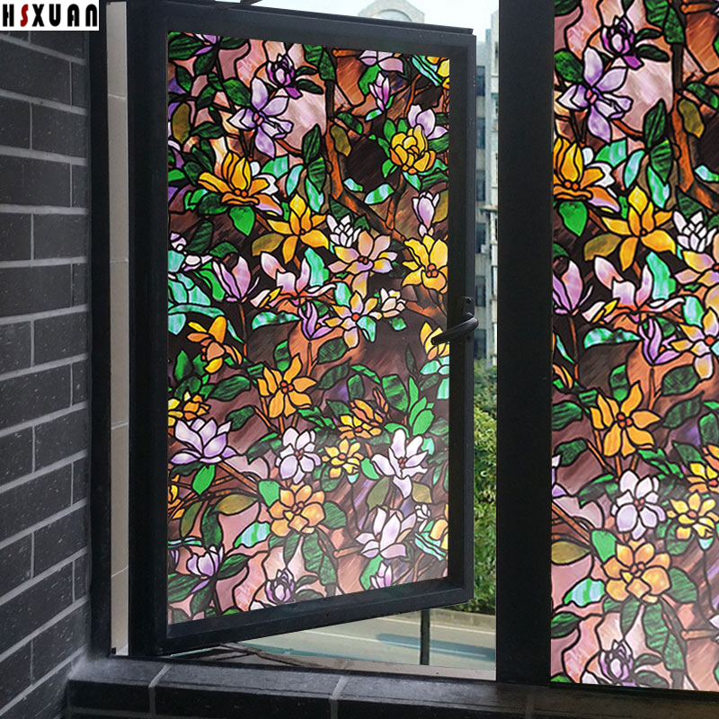 Aliexpress Buy Leaf Stained Glass Windows 80x100cm Frosted