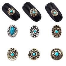 10pcs Nail Drills Metal Ornaments Japanese Nail Drill Alloy Retro Bohemian Style Nail Manicure Beauty Decoration Tool 10*10mm