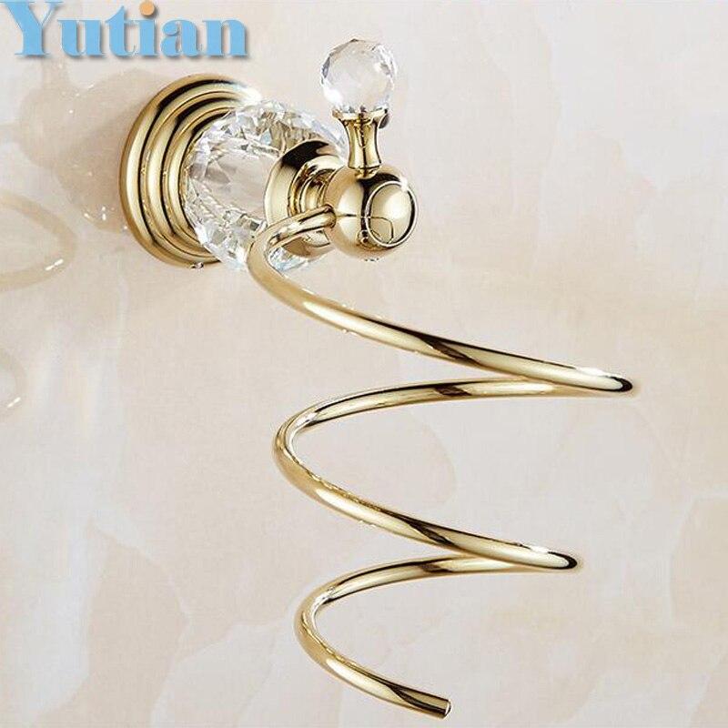 gold Crystal Bathroom Wall Shelf Wall-mounted Hair Dryer Rack Storage Hairdryer Support Holder Spiral Stand Holder YT-12899<br>