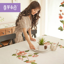 Chinese handmade Embroidered Tablecloths Round Tablecloth Flowers Table Cover White Tablecloths