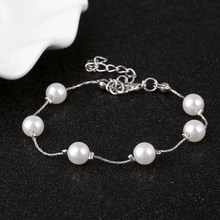 Hesiod Brand Super Simple Sweet Bracelet for Girls Elegant Imitation Pearl Bracelet Women Silver Gold Color Bracelet Wholesale