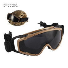 FMA Helmet Goggle Tactical Ballistic Anti-Fog Goggle w/ Side Rails Military Paintball Hunting Outdoor Skate Cycling Safety Glass