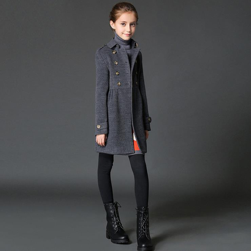 Girls autumn winter coat girls clothes abrigos girls wool coat Trench children clothing kids clothes 5-9T kids jacket for girls<br><br>Aliexpress