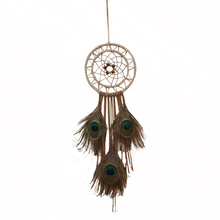 60cm Long Indian Style Dream Catcher Peacock Feather Wall Hanging Ornament Home Decoration Craft Great Gift Free Shipping(China)