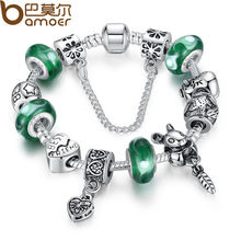 BAMOER Silver Green Bead Animal Best Friend Charm Bracelet with Safety Chain for Women Original Jewelry PA1433(China)