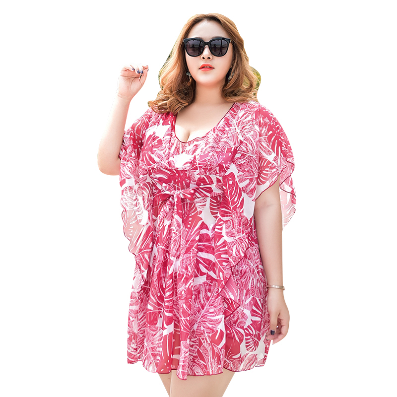 Floral 3 Pieces in 1 Bikini Set Sexy Women Swimwear with Summer Cover-Ups Plus Size Swimsuit Beach Wear 3XL-6XL Bathing Suit<br>