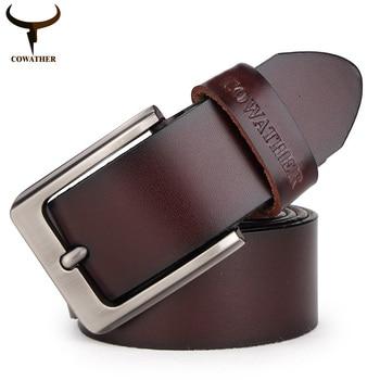 2015 para hombre de cuero de vaca genuino de lujo de la correa cinturones para hombre para hombre de 2 colores cintos masculinos placa hebilla del envío gratis