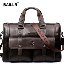 BAILLR Brand Men's Bag Leather Briefcase Men Business Handbag Messenger Bag Leather Men Casual Men's Shoulder Bag Large Capacity