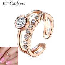 Fashion Joint Knuckle Ring Women Toe Ring Rose Gold And Silver Plated Austrian Crystal Nail Zircon Midi Set Mid Finger Rings(China)