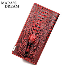 Mara's Dream 3D Women Wallets Alligators Genuine Leather Money Female Wallet Brand Designers Ladies Clutch Coin Purses & Holders(China)