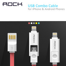 ROCK Original 2 in 1, 1m 2m 32cm 5 color USB phone cable for iPhone 5/5s 6 and Samsung S6 charging data line for Light Micro