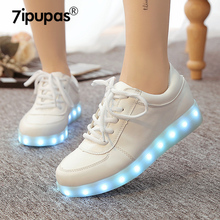 7ipupas Shining 7 Colors Luminous casual LED Shoe Men With Lighted for Adults Light Up Shoe Unisex USB Charging Glowing Sneakers(China)